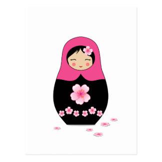 Carte Postale Rose russe Matryoshka Babushka de poupée