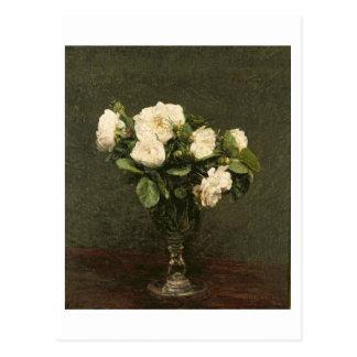 Carte Postale Roses blancs, 1875 (huile sur la toile)