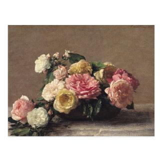 Carte Postale Roses dans un plat, 1882