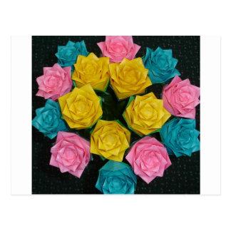 Carte Postale Roses d'origami