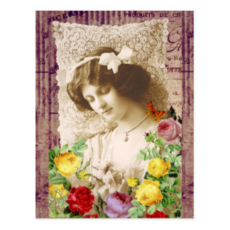 CARTE POSTALE ROSES ET COLLAGE VINTAGE ART.PNG DE DENTELLE