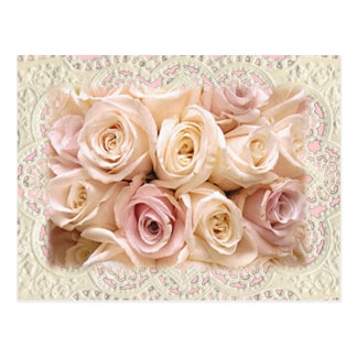 Carte Postale ROSES et DENTELLE par SHARON SHARPE par SHARON