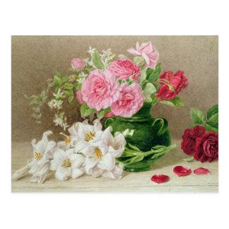 Carte Postale Roses et lis
