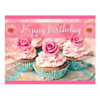 Carte Postale Roses et petits gâteaux