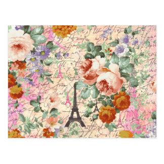 Carte Postale Roses mignons de Tour Eiffel vintage élégant de