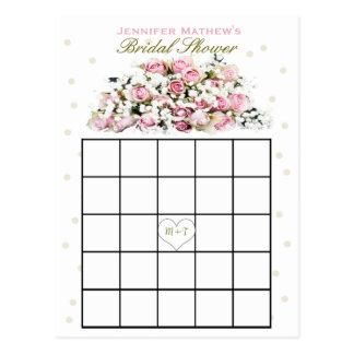 Carte Postale Roses roses nuptiales du bingo-test | de douche