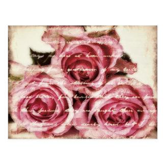 Carte Postale Roses roses vintages