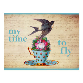 Carte Postale Roses vintages de tasse de thé et oiseau