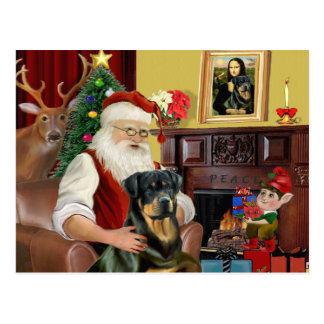 Carte Postale Rottweiler 3 de Père Noël à la maison -
