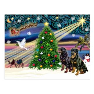 Carte Postale Rottweilers magiques de Noël (deux)