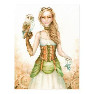 Carte Postale Rouages, fille rustique de steampunk et hibou