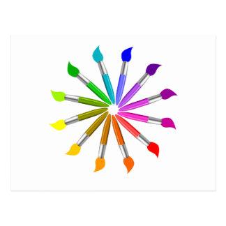 Carte Postale Roue de couleur de pinceau, théorie de couleur de