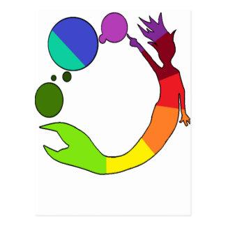 Carte Postale Roue de couleur de sirène
