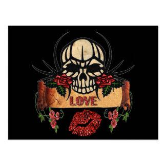 Carte Postale Rouge à lèvres d'amour de roses de crâne de