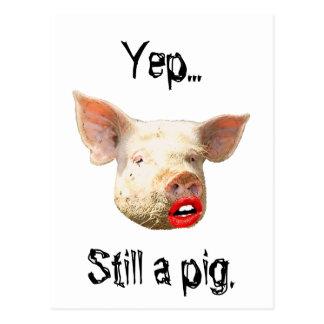 Carte Postale Rouge à lèvres sur un porc