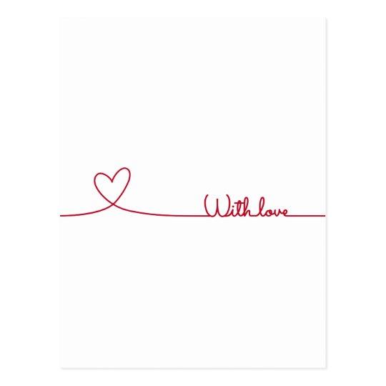 carte postale rouge coeur de dessin au trait avec amour. Black Bedroom Furniture Sets. Home Design Ideas