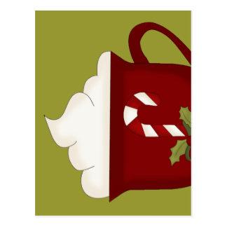 Carte Postale Rouge d'amant de chocolat chaud avec le vert
