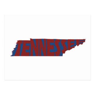 Carte Postale Rouge d'art de mot de nom d'état du Tennessee