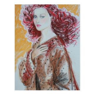 Carte postale rouge de beauté de cheveux