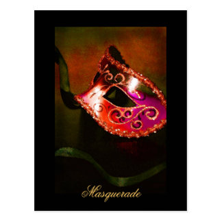 Carte postale rouge de beaux-arts de masque de