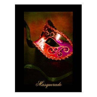 Carte postale rouge de beaux-arts de masque de mas