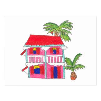 Carte postale rouge de Chambre de toit