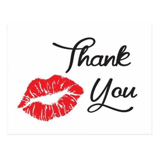 Carte postale rouge de Merci de baiser de rouge à