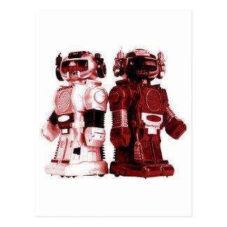 carte postale rouge de robots