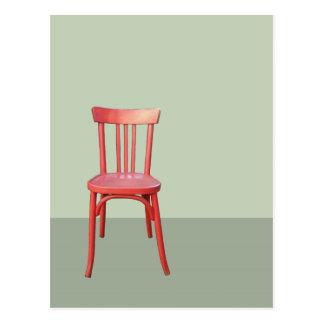 Carte postale rouge de vert de chaise