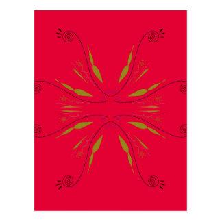 Carte Postale Rouge d'ethno de mandala