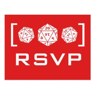 Carte postale rouge du Gamer RSVP des matrices D20