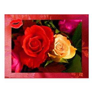 Carte postale rouge du rose jaune II
