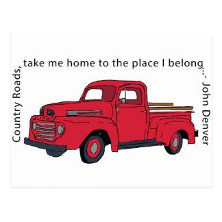 Carte postale rouge vintage de routes de campagne