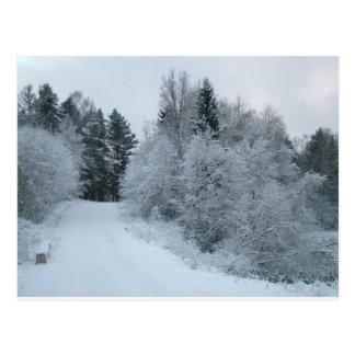Carte Postale route neigeuse Estonie de joie d'hiver