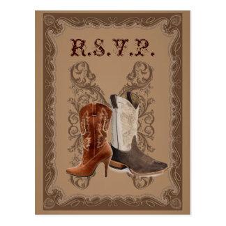 Carte Postale Rsvp occidental de mariage de bottes de cowboy de