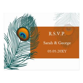Carte Postale rsvp orange de mariage de paon