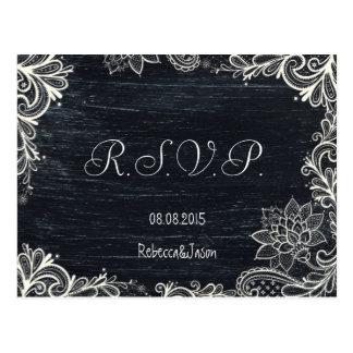 Carte Postale Rsvp rustique de mariage de tableau de typographie