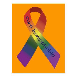 Carte Postale Ruban de conscience de homophobie de traitement