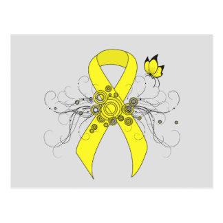 Carte Postale Ruban jaune avec le papillon