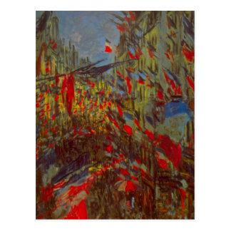 Carte Postale Rue Montorgueil avec des drapeaux par Claude Monet