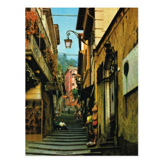 Carte Postale Rue vintage de l'Italie Bellagio des étapes