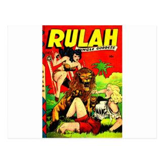 Carte Postale Rulah et un grand lion effrayant