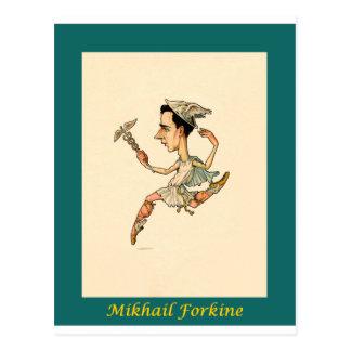 Carte Postale ~ russe Mikhail Fokine de caricature de ballet