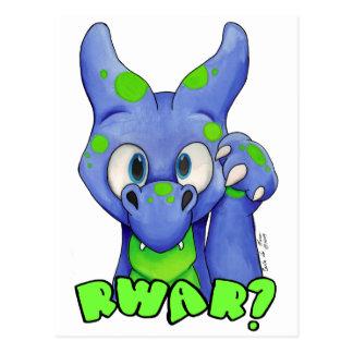 Carte Postale RWAR ? (Bleu) dragon mignon de bébé hurlant
