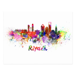 Carte Postale Ryad skyline in watercolor