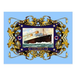Carte Postale S.S. Paquebot vintage de paquebot de Columbus