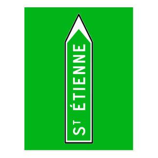 Carte Postale Saint-Étienne, panneau routier, France