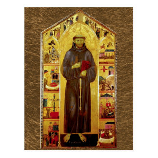 Carte Postale Saint Francis d'icône médiévale d'Assisi