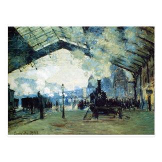 Carte Postale Saint-Lazare Gare, train de la Normandie par
