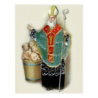 Carte Postale Saint Nicholas secourant des enfants
